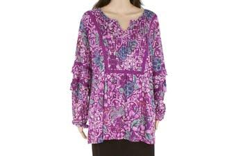 Style & Co Women's Blouse Purple Size 2X Plus Tunic Pleated Floral