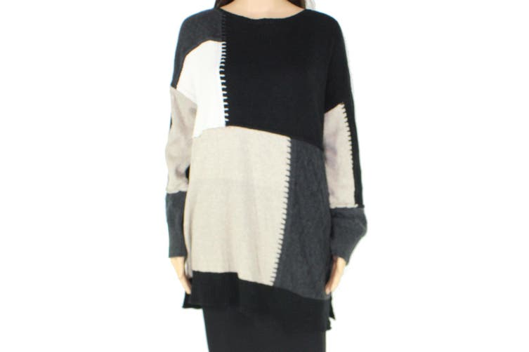 Style & Co. Women's Sweater Black Size 0X Plus Pullover Colorbock Patch