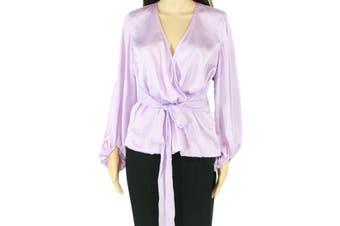 INC Women's Blouse Purple Size 2X Plus Satin Faux Wrap Ribbon Tie Belt