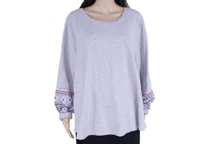 Style & Co. Women Sweater Gray Size 1X Plus Embroidered Sequin Pullover