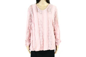 Style & Co Women's Top Pink Size 3X Plus Ruffle Lace Inset V-neck
