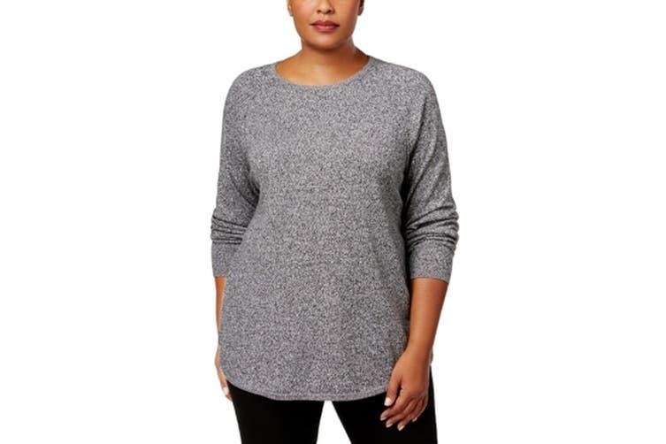 Karen Scott Women's Sweater Gray Size 0X Plus Pullover Marl Curved-Hem
