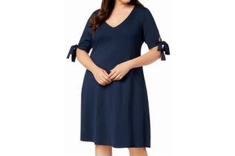 525 America Women's Dress Midnight Blue Size 1X Plus Sheath Sleeve Tie