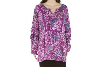 Style & Co Women's Blouse Purple Size 2X Plus Pintuck Floral Print