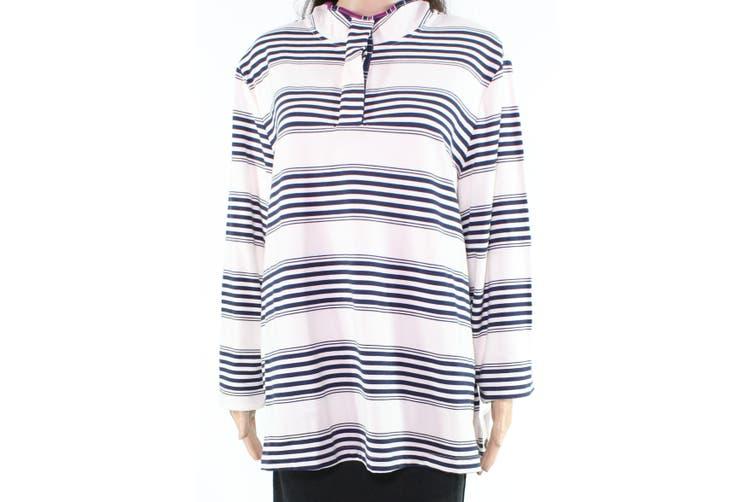 Charter Club Women's Top Classic White Size 2X Plus Striped Polo