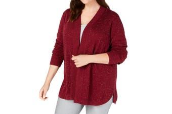 Karen Scott Women's Sweater Burgundy Red Size 2X Plus Marled Cardigan
