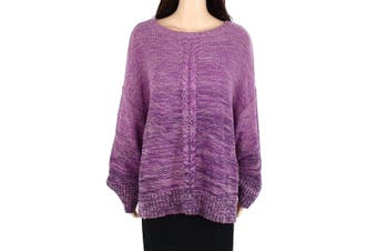 Style & Co Women's Sweater Purple Size 1X Plus Cable Marled Knit Crew