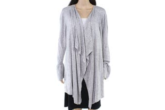 Style & Co. Womens Sweater Gray Size 2X Plus Open Front Ruffle Cardigan