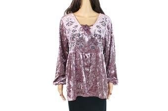 Style & Co. Women's Blouse Blush Pink Size PXL Petite Velvet Lace-Up