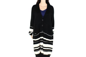 Style & Co Women's Sweaters Black White Size 0X Plus Cardigan Striped