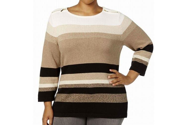 Karen Scott Women's Sweater Brown 3X Plus Pullover Striped Shoulder Zip