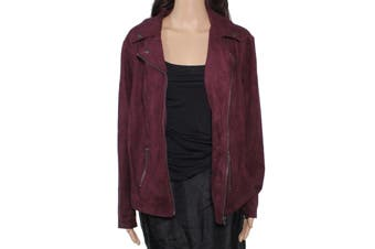 Style & Co. Women's Jacket Burgundy Red Size 0X Plus Suede Motorcycle