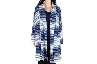 Style & Co Womens Sweater Blue 2X Plus Striped Marled Open Cardigan