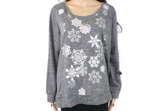 Style & Co Women's Sweater Gray 2X Plus Pullover Metallic Snowflake