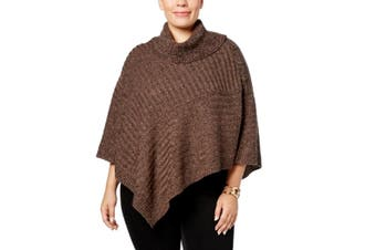 Karen Scott Women's Sweater Brown Size 2X Plus Marled Kniy Poncho