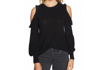 1. State Women's Sweater Black Size Small S Pullover Cold Shoulder