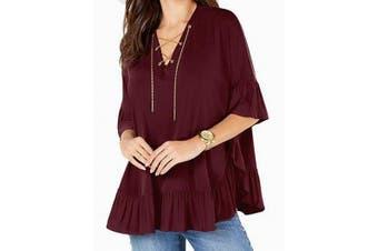 Michael Michael Kors Women's Blouse Purple 1X Plus Lace-Up Pleated