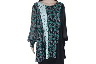 Alfani Women's Blouse Green Size 1X Plus Tunic Floral Smocked Sleeves