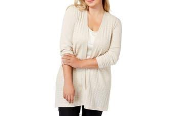 Karen Scott Women's Sweater Beige Size 0X Plus Cardigan Open Front