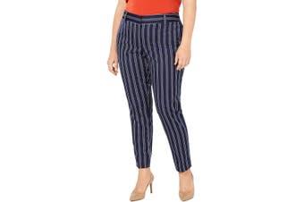 MICHAEL Michael Kors Women's Pants Blue Size 22W Plus Stripe Stretch