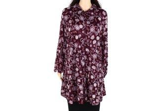 Style & Co Women's Button Down Shirt Purple Size 2X Plus Floral Print