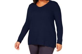 Karen Scott Women's Sweater Midnight Blue Size 2X Plus Scoop Neck