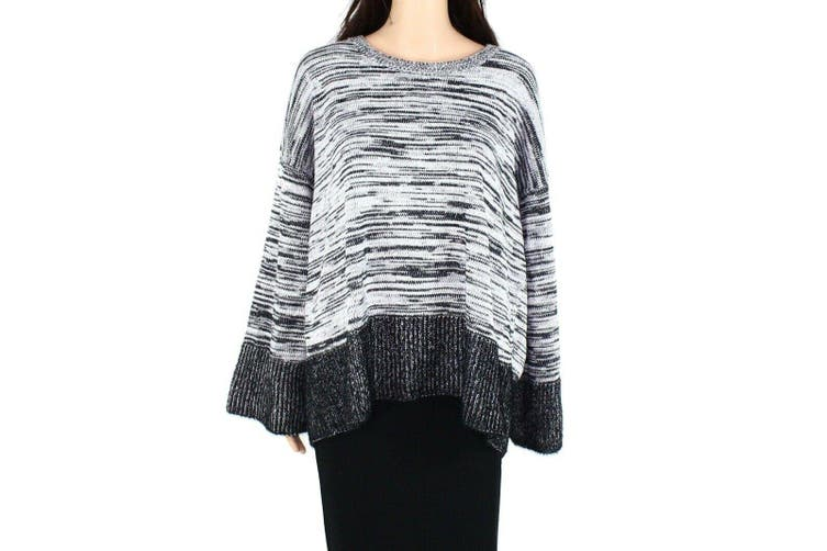 Style & Co. Women's Sweater Eyelash Marle Black Size PP Plus Knitted