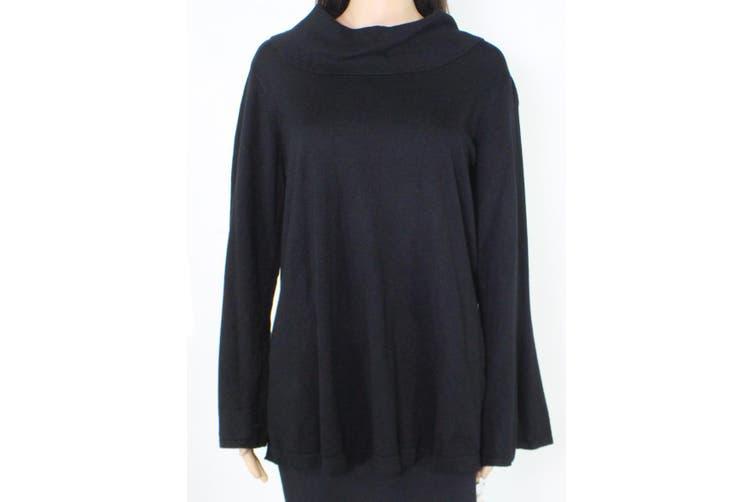 Alfani Women's Sweater Black Size 2X Plus Tunic Flare-Sleeve Cowl-Neck