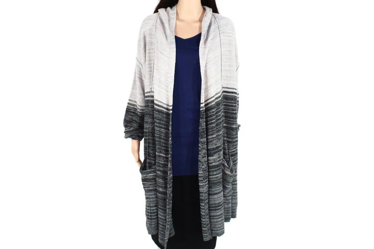 Style & Co Womens Sweater Gray Size 3X Plus Cardigan Open-Front Hooded