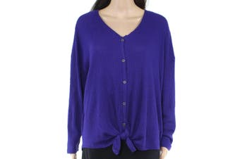 Style & Co. Womens Top Purple Size 1X Plus Waffle Knit Button Up Hi Low