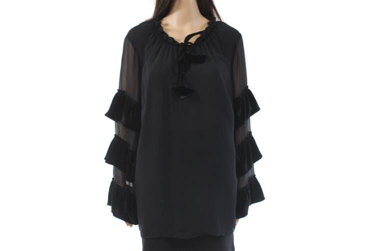 Style & Co. Women Blouse Black Size 3X Plus Velvet Sheer Ruffled Sleeve