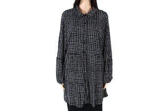 Style & Co Women's Black Size 1X Plus Button Down Shirt Grid Contrast