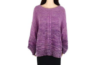 Style & Co. Womens Sweater Purple Size 1X Plus Braided Marled Knit Crew