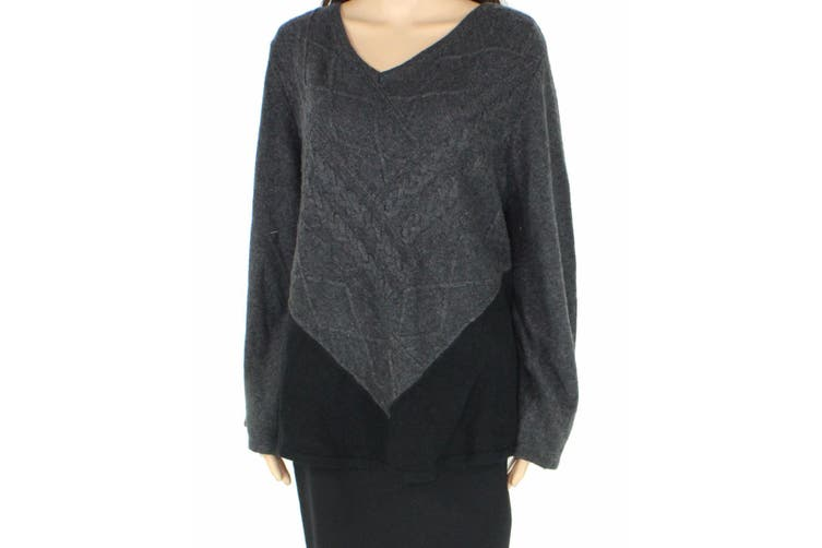 Style & Co. Womens Sweater Gray Size 3X Plus Pullover V-Neck Colorblock