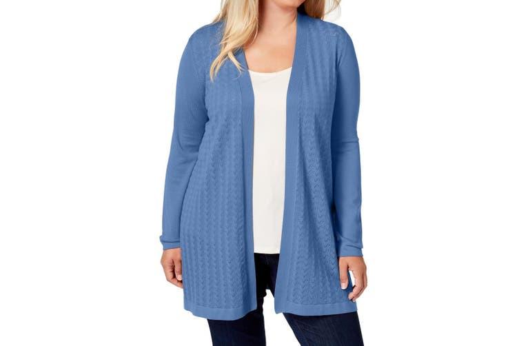 Karen Scott Women's Sweater Blue Size 0X Plus Cardigan Open-Front