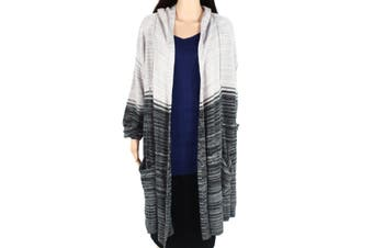 Style & Co. Womens Sweater Gray Size 3X Plus Cardigan Open-Front Hooded