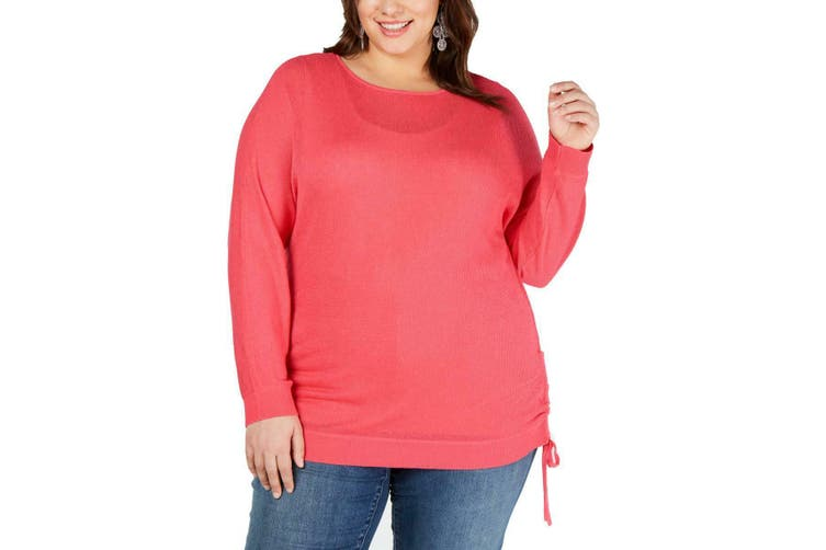 INC Women's Sweater Tunic Pink Size 4X Plus Pullover Hem-Tie Drawstring
