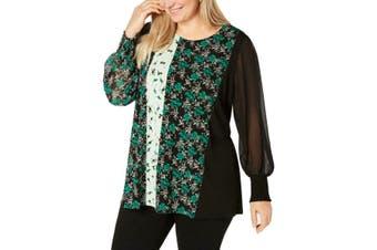 Alfani Women's Blouse Green Size 1X Plus Tunic Floral Smocked Sleeves