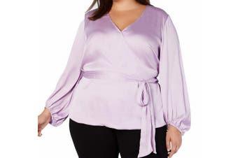 INC Women's Blouse Lilac Purple Size 3X Plus Blouson Sleeve Tie Waist