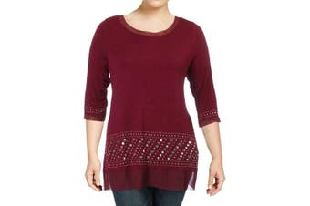 Belle by Belldini Women's Top Embellished Tunic Red Size 1X Plus Blouse
