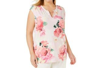 Calvin Klein Women's Tank Top Pink Size 0X Plus Chain-Neck Floral