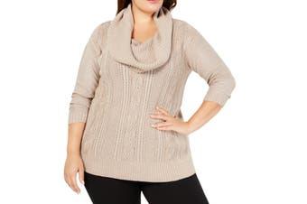 Belldini Women's Sweater Brown Size 3X Plus Cowl Neck Lurex Pullover
