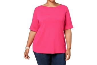 Karen Scott Women's Blouse Pink Size 2X Plus Knit Boat Neck Cuffed