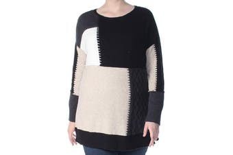 Style & Co. Women's Sweater Black Size 3X Plus Patchwork Pullover