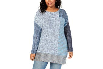 Style & Co. Women's Sweater Blue Size 1X Plus Colorblok Pullover Knit