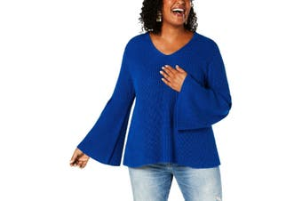 Style & Co Womens Sweater Royal Blue Size 3X Plus V-Neck Trumpet Sleeve