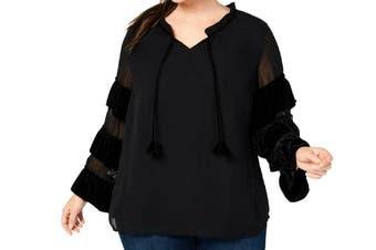 Style & Co. Womens Blouse Black Size 1X Plus Ruffled Velvet V-Neck