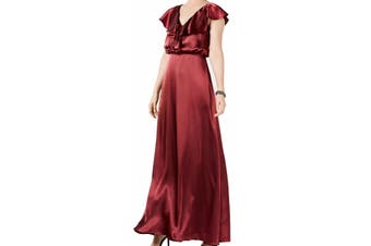 Adrianna Papell Women's Dress Red Size 6 Gown Ruffled Satin V-Neck