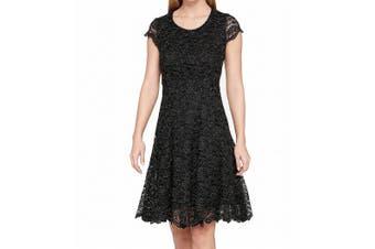 Tommy Hilfiger Women's Dress Gold Black Size 8 A-Line Metallic Lace
