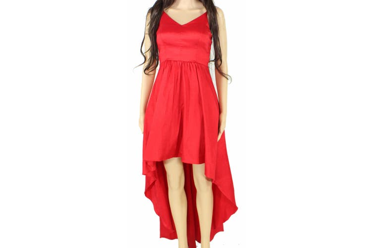 Betsy & Adam Women's Dress Red Size 0 Pleated Satin High-Low Gown